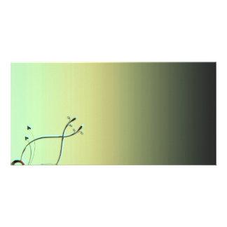 Inspiring Greenish swirls Custom Photo Card