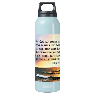 INSPIRING JOHN 3:16 OCEAN PHOTO DESIGN INSULATED WATER BOTTLE