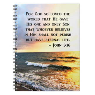 INSPIRING JOHN 3:16 OCEAN PHOTO DESIGN NOTEBOOK