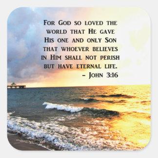 INSPIRING JOHN 3:16 OCEAN PHOTO DESIGN SQUARE STICKER