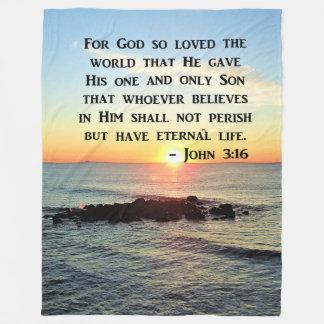 INSPIRING JOHN 3:16 SUNRISE PHOTO DESIGN FLEECE BLANKET