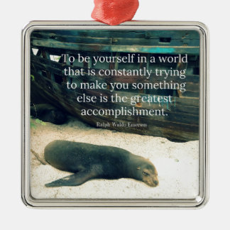 Inspiring Life quote beach theme Metal Ornament