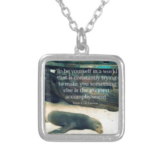 Inspiring Life quote beach theme Silver Plated Necklace