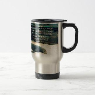 Inspiring Life quote beach theme Travel Mug