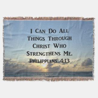 INSPIRING PHILIPPIANS 4:13 BIBLE VERSE THROW BLANKET
