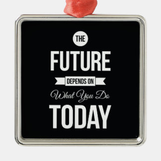 Inspiring Quotes The Future Black Silver-Colored Square Ornament