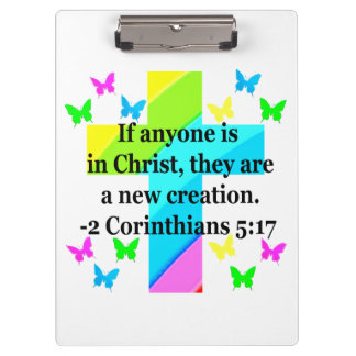 INSPIRING RAINBOW CROSS 2 CORINTHIAN 5:17 CLIPBOARD