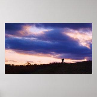 Inspiring Runner at Sunset Poster