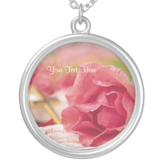 Inspiring Spiritual Dew Covered Pink Rose Silver Plated Necklace