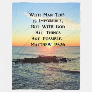INSPIRING SUNRISE MATTHEW 19:26 DESIGN FLEECE BLANKET