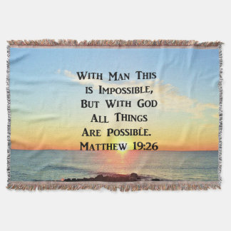 INSPIRING SUNRISE MATTHEW 19:26 DESIGN THROW BLANKET