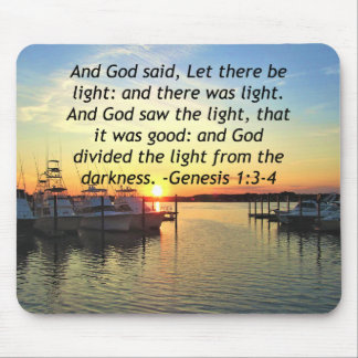 INSPIRING SUNSET GENESIS 1:3 PHOTO DESIGN MOUSE PAD