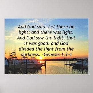 INSPIRING SUNSET GENESIS 1:3 PHOTO DESIGN POSTER