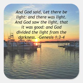 INSPIRING SUNSET GENESIS 1:3 PHOTO DESIGN SQUARE STICKER