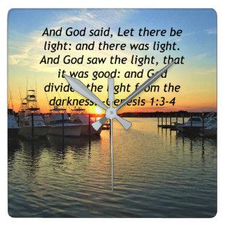 INSPIRING SUNSET GENESIS 1:3 PHOTO DESIGN SQUARE WALL CLOCK