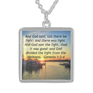 INSPIRING SUNSET GENESIS 1:3 PHOTO DESIGN STERLING SILVER NECKLACE