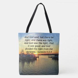 INSPIRING SUNSET GENESIS 1:3 PHOTO DESIGN TOTE BAG