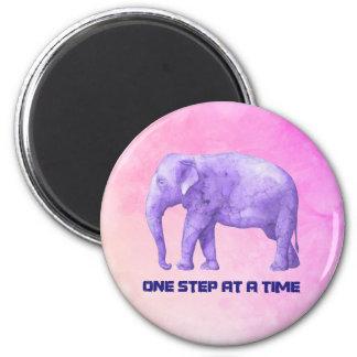 Inspiring Typography Purple Watercolor Elephant 2 Inch Round Magnet