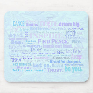 Inspiring words in pale blue shades mouse pad