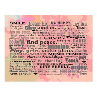 Inspiring words postcard art