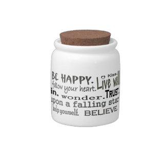inspiring words sweets container candy dish