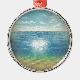 Insta Beach Silver-Colored Round Ornament