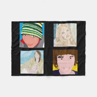 Instagram 4-Photo Black Custom Fleece Blanket