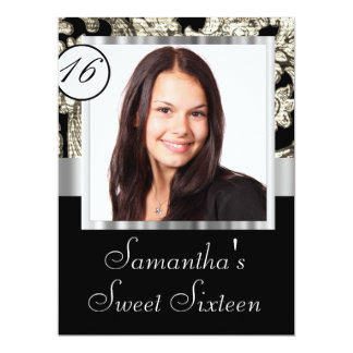 """Instagram and damask sweet sixteen 6.5"""" x 8.75"""" invitation card"""
