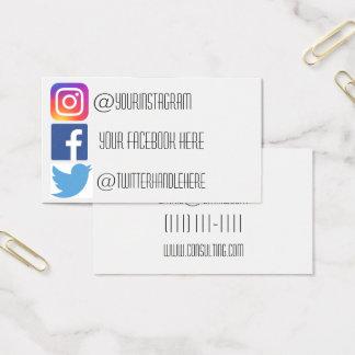 Instagram facebook twitter business card