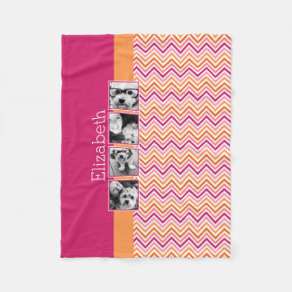 Instagram Photo Collage Hot Pink Orange Chevrons Fleece Blanket