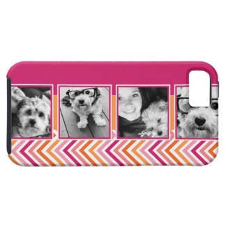 Instagram Photo Collage Hot Pink Orange Chevrons iPhone 5 Cases