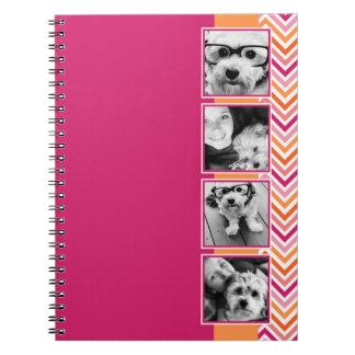 Instagram Photo Collage Hot Pink Orange Chevrons Notebook