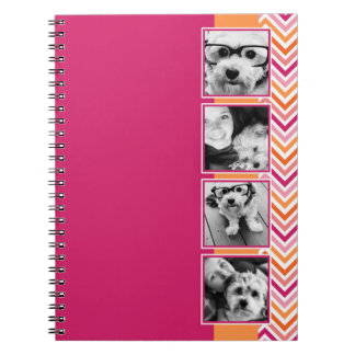 Instagram Photo Collage Hot Pink Orange Chevrons Spiral Note Books