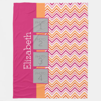 Instagram Photo Collage Hot Pink Orange LARGE Fleece Blanket