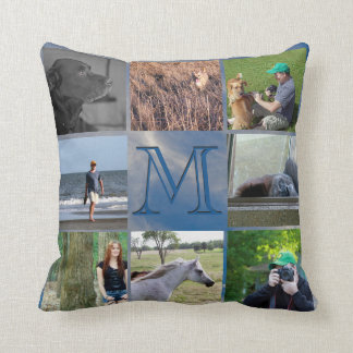Instagram Photo Collage | Monogram Blue Sky Clouds Throw Pillow