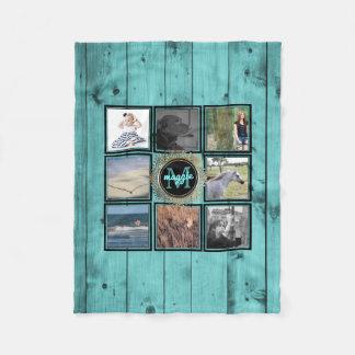 Instagram Photo Collage Name | Turquoise Wood Teal Fleece Blanket