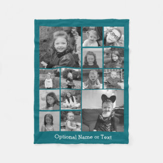 Instagram Photo Collage - Up to 14 photos Blue Fleece Blanket