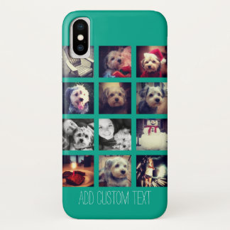 Instagram Photo Collage with Emerald Background iPhone X Case