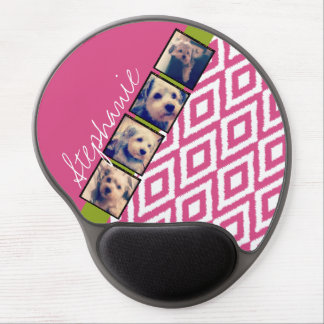 Instagram Photo Collage with Ikat hot pink name Gel Mouse Pad