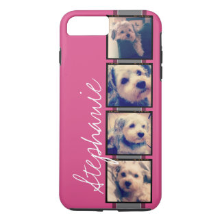 Instagram Photo Display - 4 photos pink name iPhone 8 Plus/7 Plus Case