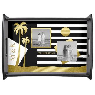 Instagram Photo Monogram Gold Beach Black Stripes Serving Tray
