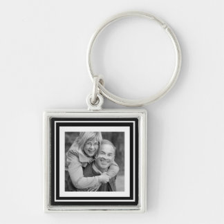 Instagram Photo Squares Choose Background Color Silver-Colored Square Keychain