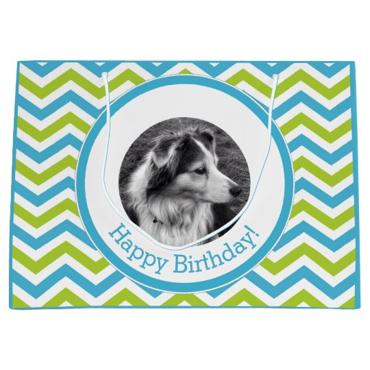 Instagram PhotoCustom Greeting Bright Chevron Large Gift Bag