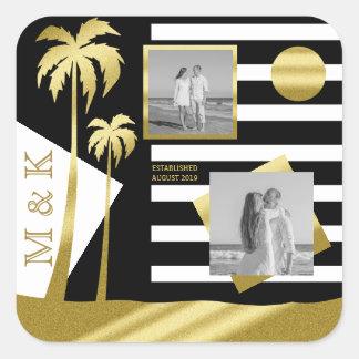Instagram Photos Monogram Gold Beach Black Stripes Square Sticker