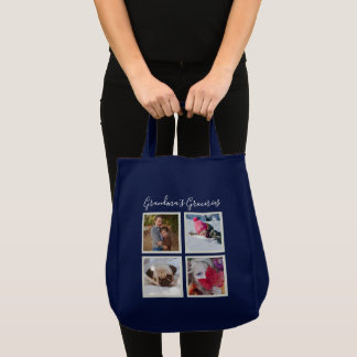 Instagram Photos Navy Blue Personalized Grocery Tote Bag