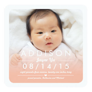 Instagram Square Baby Girl Birth Announcement