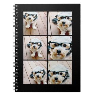 Instagram Square Photo Collage - Black Spiral Notebook