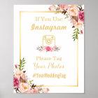 Instagram Wedding Sign   Elegant Chic Floral Gold