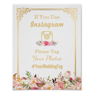 Instagram Wedding Sign | Vintage Gold Frame Floral