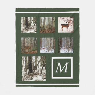 Instagram  your pictures custom collage monogram fleece blanket